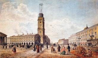 Nevsky Prospect by the City Duma. Watercolour by C. Wolfe. Middle 19th century.