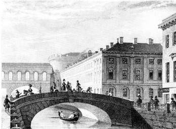 Quarters of the First Battalion of the Preobrazhensky Life Guards Regiment on Millionnaya Street. Engraving by Gobert of A.M.Gornostaev drawing. 1834.