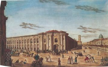 View of Gostiny Dvor. Engraving by I.A.Ivanov. 1815.