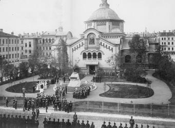 Inauguration of the Monument to Sappers at the SS. Kosma & Damian Church on Kirochnaya Street. Photo, 1899.