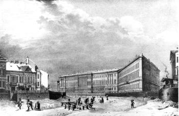 General Headquarters and Ministries Building from the Moika River. Lithograph by C.P.Beggrow of the drawing of V.S.Sadovnikov. The 1830s.