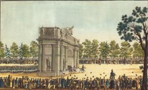 Return of the Guards Regiments to St. Petersburg on July 30, 1814. By an unknown artist. The 1810s.
