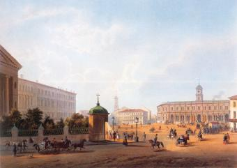 Terminal of the Moscow Railway. Lithograph by J.Jacot and Obraine from the original by I.I.Charlemagne. 1850s.