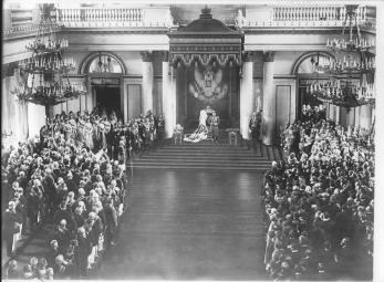 Emperor Nicholas II Delivers a Throne Speech in Winter Palace at the Opening Session of the 1st State Duma. Photo of April 27 (May 10) 1906.