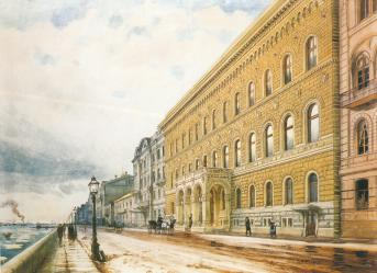 Palace of Grand Prince Vladimir Alexandrovich. Watercolour by Albert N.Benois. 1870s.