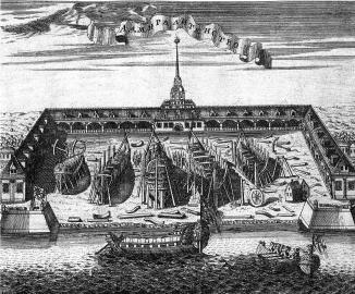 Admiralty. Engraving by A.F.Zubov. 1716.
