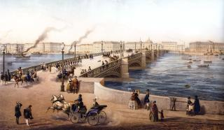 Nikolaevsky Bridge from the Angliiskaya Embankment. Lithograph by J. Jacot and Regame from the original by I.I.Charlemagne. 1850s.