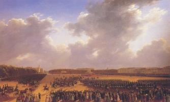 Parade of Ocotber 6, 1831 on the Tsarina's Meadow in St. Petersburg. By G.G.Chernetsov. 1837.