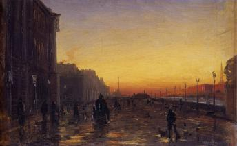 Dawn in St. Petersburg. By F.A.Vasiliev . The late 1860s.