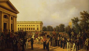 Guards Officials at the Alexander Palace in Tsarskoe Selo. By F.Kruger. 1841.