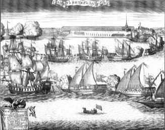 Ceremonial Entry of Four Swedish Frigates into the Neva after the Victory in the Battle of Grengam on September 8, 1720. Engraving by A.F.Zubov. 1720.