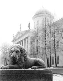A lion sculpture on Makarova Embankment.