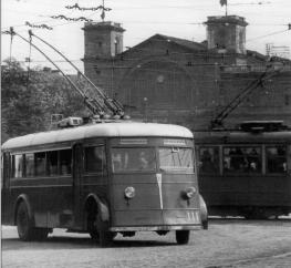 Trolleybuses at Baltysky Railway Station. Photo, 1938.