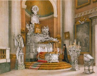 View of the Shrine with the Relics of Prince Alexander Nevsky. Lithograph by O.A.Kochetova. 1890.