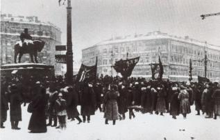 Demonstrators on Znamenskaya Square. February, 1917.