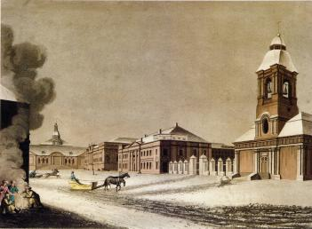 View of the Arsenal and Liteiny Dvor. Engraving by D.Clark and M.Duburg from the original drawing by Mornay. 1815.