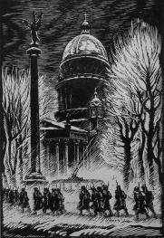 In the Streets of Leningrad in Winter of 1941-1942. Linocut by S.B.Yudovin. 1947.