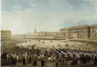 Parade on Palace Square on May 19, 1816. Watercolour by I.A.Ivanov. 1816.