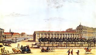 View of the Anichkov Palace and the Building of the Cabinet. Engraving by I.I.Terebenev. 1814.