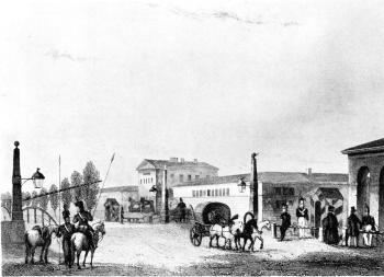 Moscow Entrance Way. Engraving by Gobert from the drawing by A.M.Gornostaev. 1834.