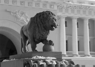 Lion sculpture on Admiralty Embankment.