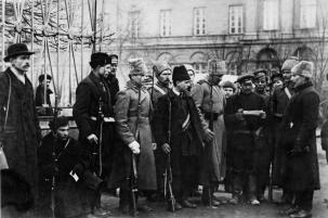 Checking of permits at the Smolny 's entrance. October, 1917.