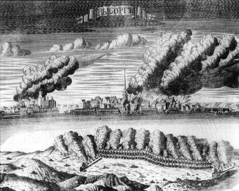 Siege of Vyborg in 1710. Engraving by A.I.Rostovtsev. 1715.