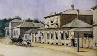 Kolpinskaya Street of Tsarskoe Selo. Watercolour, author unknown. 1865.