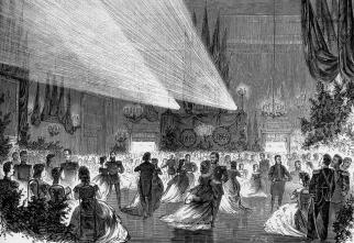 Ball in Engineers' Castle on November 29, 1869. Engraving by L.A.Seryakov. 1869.