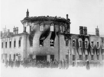 Lithuanian Castle Burnt Down during the February Revolution. Photo by K.K.Bulla. 1917.