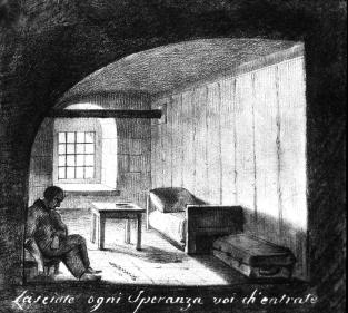 Solitary cell of the Peter&Paul Fortress. Drawing, author unknown. 1826.