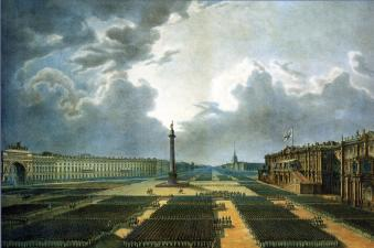 Consecration of the Alexander Column. Parade on August 30, 1834. By V.E.Raev. 1834.