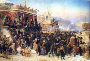 K.E.Makovsky. Open-Air Festivals during Shrovetide on Admiralty Square in St.Petersburg. 1869.