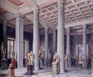 New Hermitage. Ancient Sculpture Hall. Watercolour by L.Premazzi. 1856.
